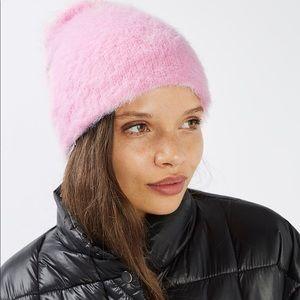 Topshop Accessories - Topshop Super Soft Fuzzy Pink Slouchy Beanie Hat
